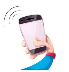 Funny cartooon smartphone hand vector