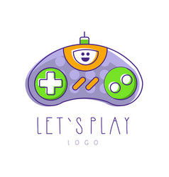 Gaming controller logo let s play gamepad icon vector