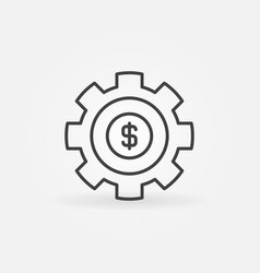 Gear with dollar outline icon vector