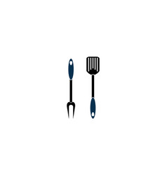 grill tools a spatula and fork for logo design vector image