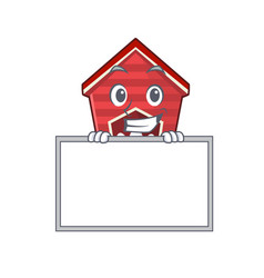 Grinning with board chicken coop isolated vector