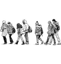 Group schoolchildren on excursions vector