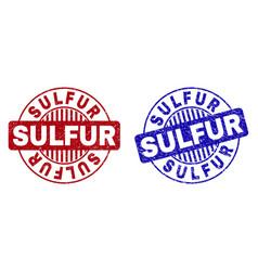 Grunge sulfur textured round stamp seals vector