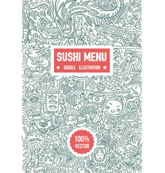 hand drawn sketch of doodle sushi menu vector image
