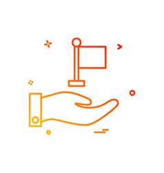 hand flag icon design vector image