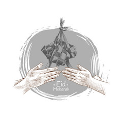 Hand forgive and indonesia traditional food vector
