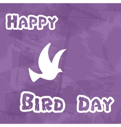 Happy bird day with grungy background and dove vector