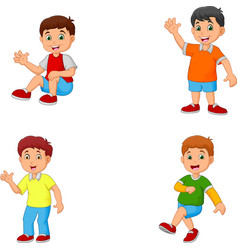 happy little kids collection set vector image