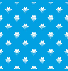 hipster hat pattern seamless blue vector image