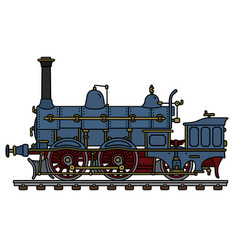 Historical blue steam locomotive vector