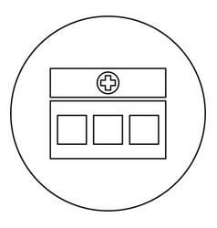 Hospital clinic medical building icon in circle vector