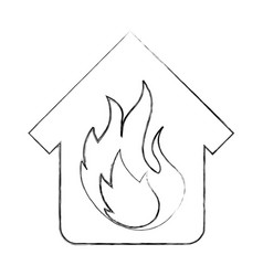 house fire insurance icon vector image