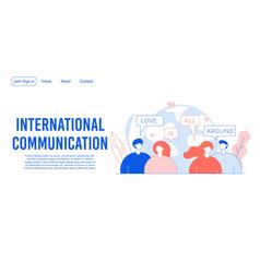 international network communication landing page vector image