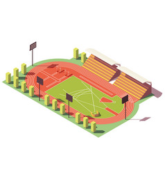 Isometric low poly athletics stadium vector