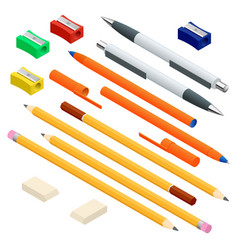 isometric set colored engineering and office vector image