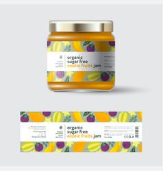 jam mango mangosteen carambola label packaging vector image