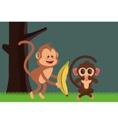 Jungle monkeys cartoon vector