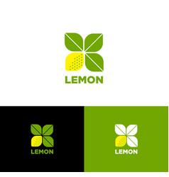 lemon logo vegetarian restaurant fresh market vector image