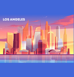 los angeles city skyline architecture waterfront vector image