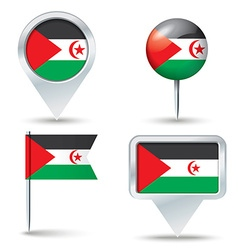 Map pins with flag of Western Sahara vector