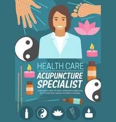 medicine or spa acupuncture doctor vector image