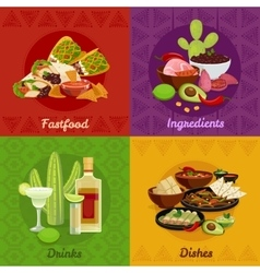 Mexican Foof 4 Flat Icons Banner vector