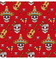 Mexican skull pattern red vector
