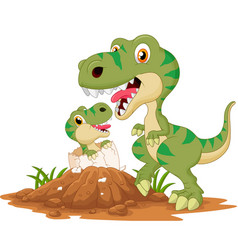 Mother tyrannosaurus with bahatching vector