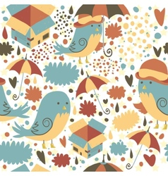 Mr sparrow with umbrella and box seamless pattern vector