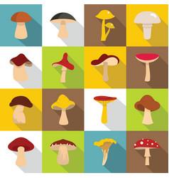 Mushroom icons set flat style vector