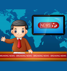 newsreader is broadcasting on tv vector image
