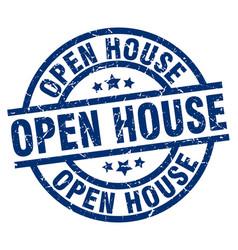 Open house blue round grunge stamp vector