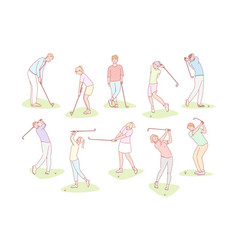 people playing golf set concept vector image
