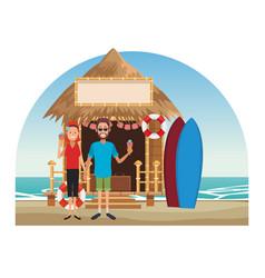 Peoplea at beach kiosk vector