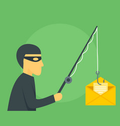 Phishing mail concept background flat style vector