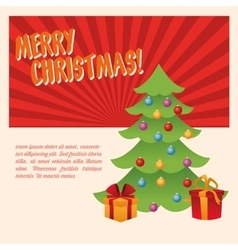 Pine tree and gifts of Christmas season design vector