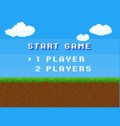 pixel start game 8 bit control menu vector image