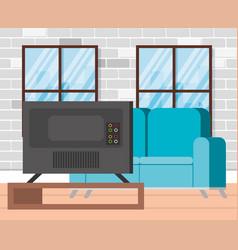 Plasma tv back in livingroom vector