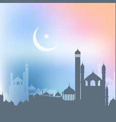 Ramadan kareem background with landscape of vector
