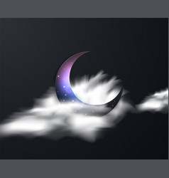 ramadan kareem greeting with crescent moon vector image