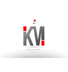 Red grey alphabet letter km k m logo combination vector