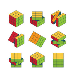 rubiks cube isometric set color puzzle for vector image