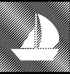 sail boat sign icon hole in moire vector image