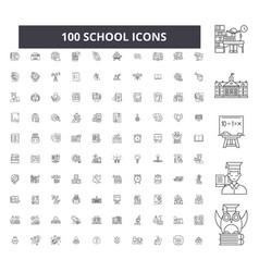 School editable line icons 100 set vector