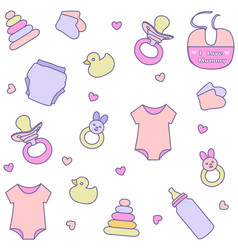 seamless pattern with baby girl items vector image