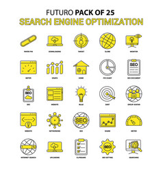 Search engine optimization icon set yellow futuro vector