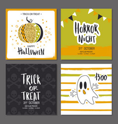 set halloween hand drawn greeting card vector image