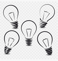 Set lamps on white background vector
