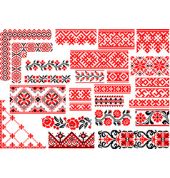 set of 25 seamless ethnic patterns for embroidery vector image