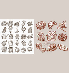 Set of 34 sketch doodle icons vector